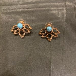 Gold and turquoise jacket earrings